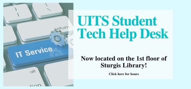 Image advertising UITS help desk in the library